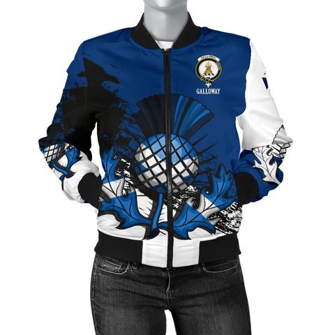 Galloway Crest Scottish Thistle Scotland Women's Bomber Jacket | Over 300 Clans | Clothing | Apparel