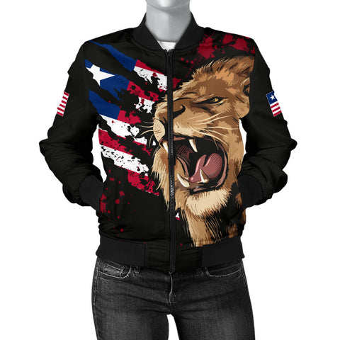 Image of Liberia Bomber Jacket, Liberia Rasta Lion Flag Women A10