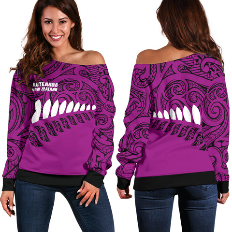 New Zealand - Aotearoa Off Shoulder Sweater (Pink) A6