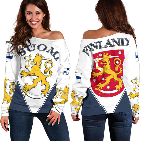 Image of Finland Hockey Off Shoulder Sweater - Hockey Lion | Love The World