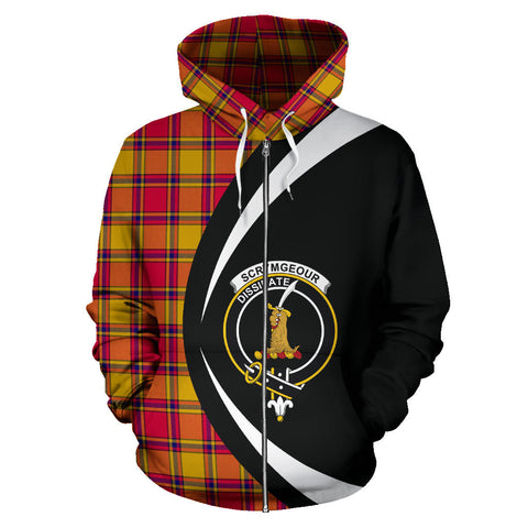 (Custom your text) Scrymgeour Tartan Circle Zip Hoodie