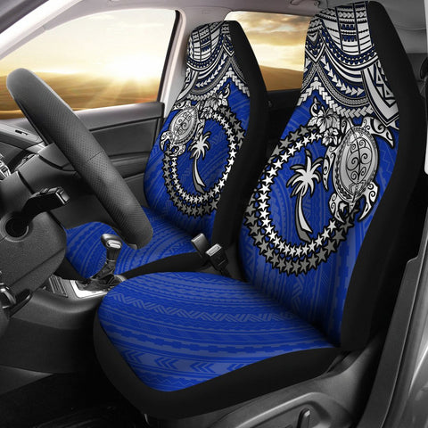 Chuuk Polynesian Car Seat Covers - White Turtle (Blue)