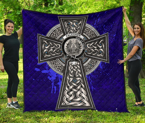 Image of Falconer Crest Scottish Celtic Cross Scotland Quilt | Home Set | Over 300 Clans