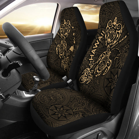 Image of Hawaii Family Turtles Map Polynesian Car Seat Covers - Gold 3