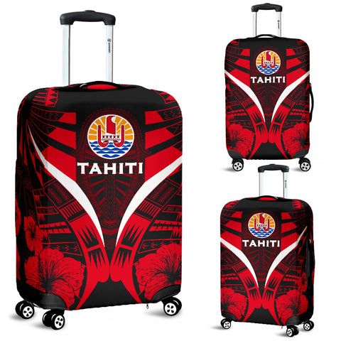 Tahiti Tattoo Luggage Covers Hibiscus - Red Color 1