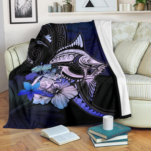 Bahamas Premium Blanket - Purple Blue Marlin and Hibiscus
