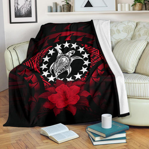Cook Islands Premium Blanket - Red Hibiscus | Special Custom Design