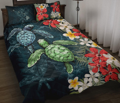 Image of Kanaka Maoli (Hawaiian) Quilt Bed Set - Sea Turtle Tropical Hibiscus And Plumeria A24