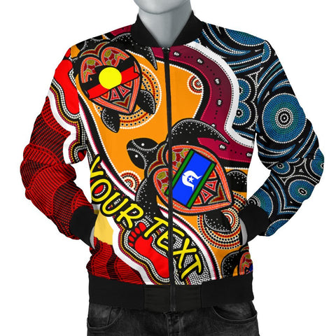 [Custom] Australian Men's Bomber Jacket - Australian Aboriginal Dots With Turtle and NAIDOC Flags - BN19