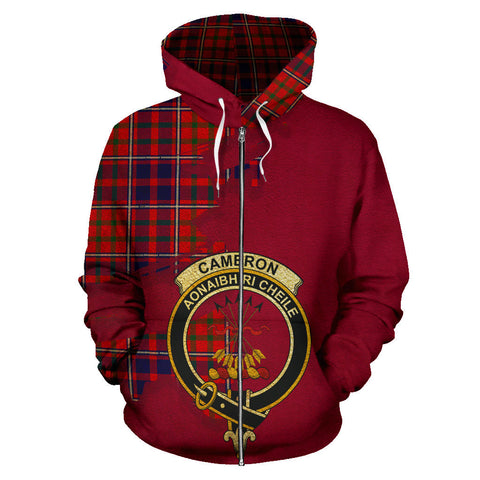 Cameron of Lochiel Modern  Royal All Over Hoodie (Zip)