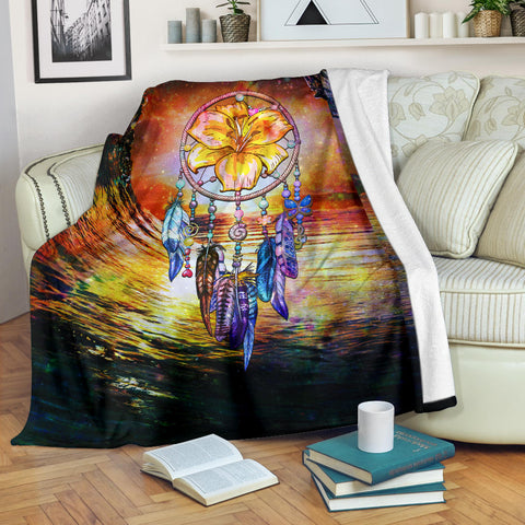 Image of Hibiscus Dreamcatcher Premium Blanket