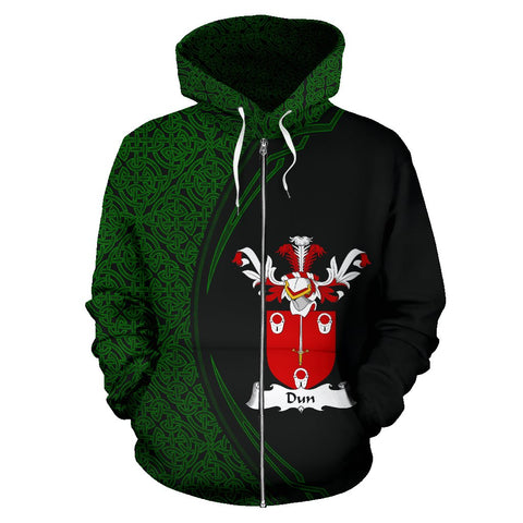 Image of Dun Family Crest Zip Hoodie Irish Circle Style Hj4