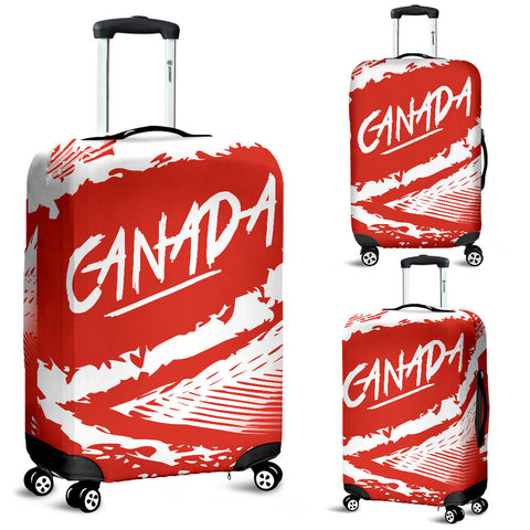 Canada Luggage Covers - Red White Color Blur Style - BN01