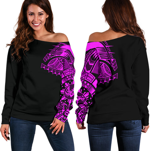 Polynesian Chest Tattoo Off Shoulder Sweater Pink A7