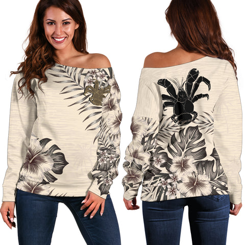 Niue 2 The Beige Hibiscus Off Shoulder Sweater A7