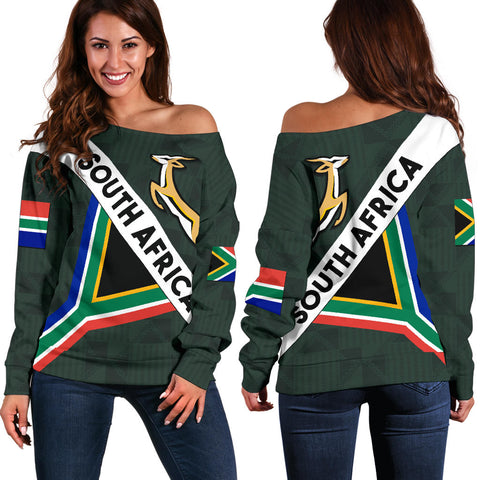 Image of South Africa Off Shoulder Sweater Springbok Miss Style front and back | Clothing