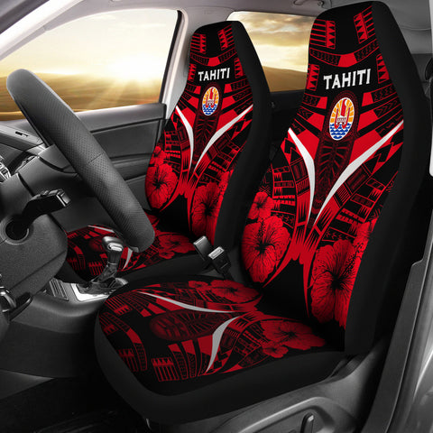 Tahiti Tattoo Car Seat Covers Hibiscus - Red Color 1