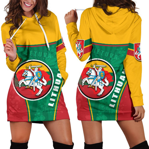 Lithuania - Lietuva Women Hoodie Dress Circle Stripes Flag Proud Version | 1sttheworld