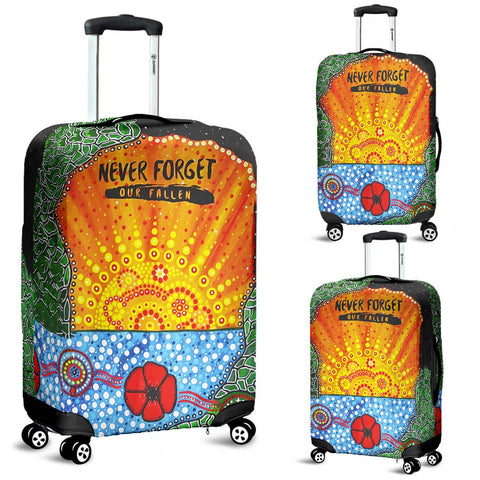 Aboriginal Australian Anzac Day Luggage Covers - Lest We Forget Poppy