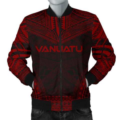 Vanuatu Polynesian Chief Men's Bomber Jacket - Red Version