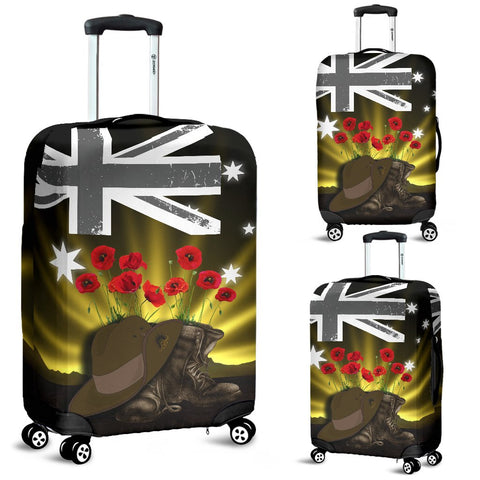 1stTheWorld Australia Anzac Day Luggage Covers - Lest We Forget Hat And Boots Poppies