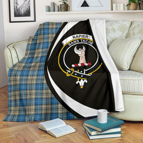 Image of Napier Ancient Tartan Clan Crest Premium Blanket Circle