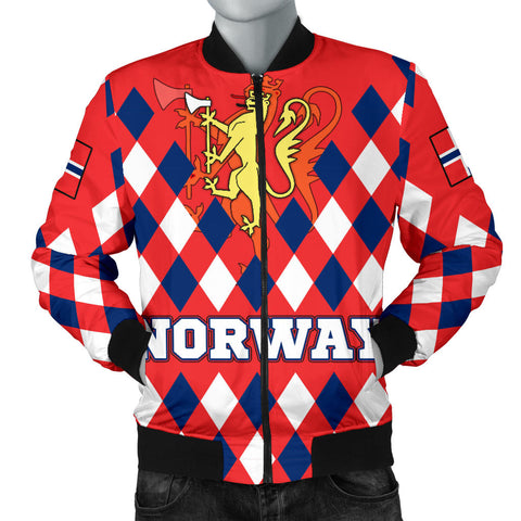 Norway Men's Bomber Jacket - Norway Lion with Flag Color