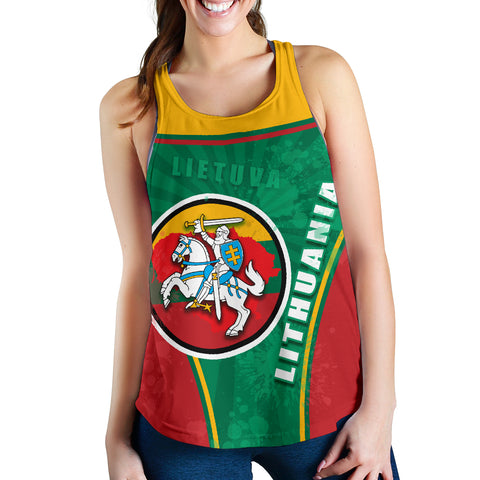 Lithuania - Lietuva Women Racerback Tank Circle Stripes Flag Proud Version Front | 1sttheworld