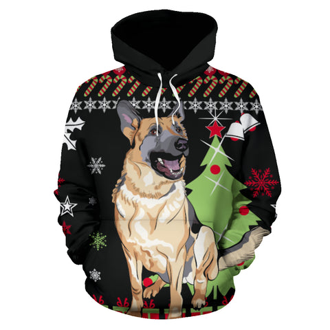 Christmas Hoodie With German Shepherd - merry christmas, german shepherd, german hoodie, german clothing, clothing, hoodies, dab dance, outfits, 1sttheworld