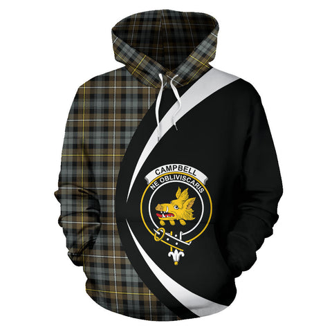 (Custom your text) Campbell Argyll Weathered Tartan Circle Hoodie