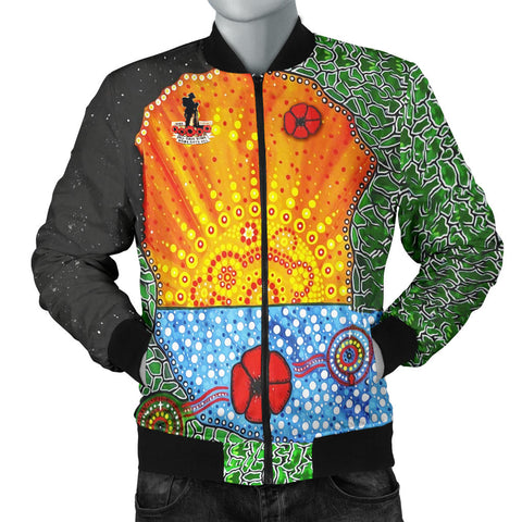 Aboriginal Australian Anzac Day Men Bomber Jacket - Lest We Forget Poppy