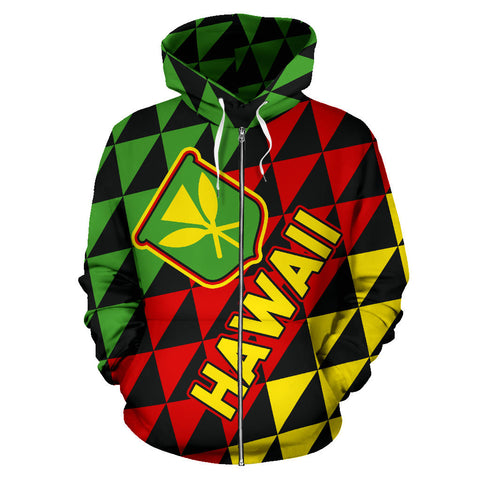 Image of Kanaka Maoli Flag Hoodie Hawaii Zip-Up Th5
