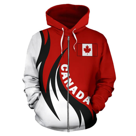 Canada Hoodie (Zip) Coat Of Arms Fire Style
