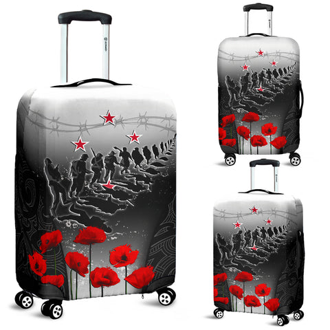 Image of New Zealand Anzac Luggage Covers - Lest We Forget Poppy| 1sttheworld