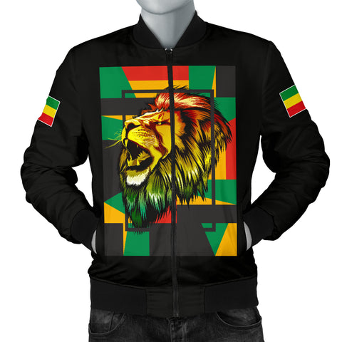 1stTheWorld Ethiopia Bomber Jacket, Ethiopia Lion Abstrato Men Black A10
