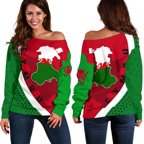 (Cymru) Wales Map Generation II Off Shoulder Sweater K6 - Red and Green - Front and Back - for Women