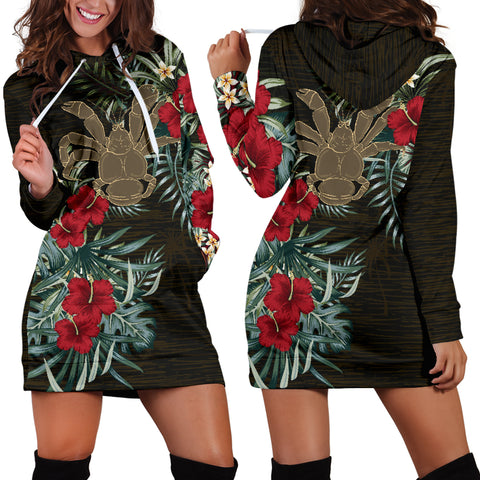 Image of Niue 2 Hibiscus Hoodie Dress A7