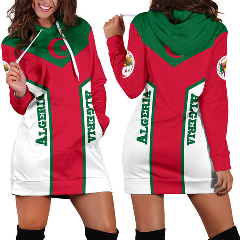 Algeria Hoodie Dress Flag Rising Women A10