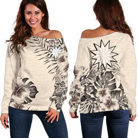 Image of Nauru 2 The Beige Hibiscus Off Shoulder Sweater A7