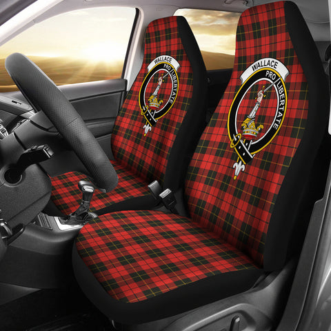 Image of Wallace Tartan Car Seat Cover - Clan Badge