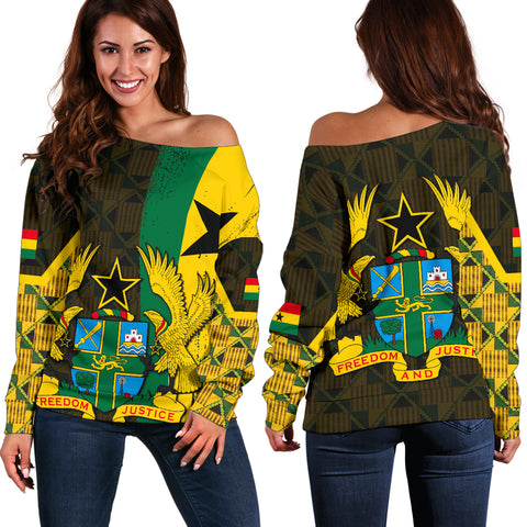 Image of Ghana Coat Of Arm Kente Women's Off Shoulder Sweater