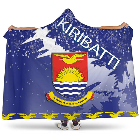 Kiribati Coat Of Arms Hooded Blanket - Blue - X Style - J82