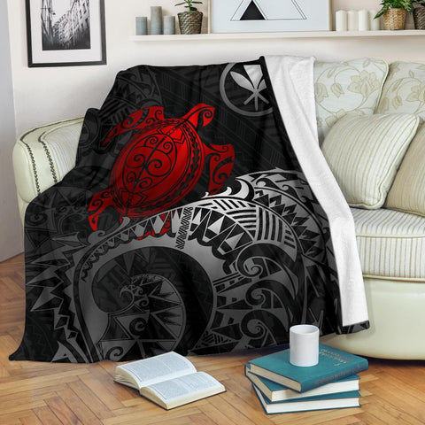Polynesian Hawaii Premium Blanket - Polynesian Turtle (Red)