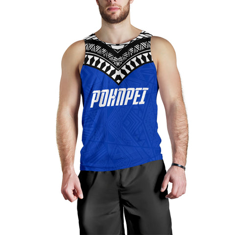 Pohnpei Flag Men's Tank Top Micronesian Pattern - BN09