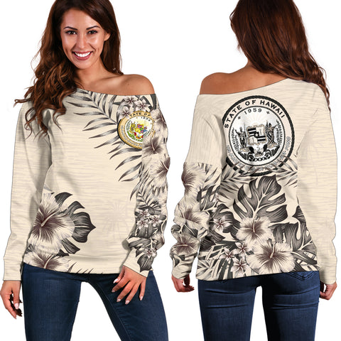 Hawaii The Beige Hibiscus Off Shoulder Sweater A7