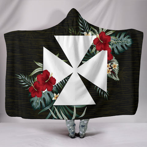 Image of Wallis And Futuna Hibiscus Hooded Blanket A7
