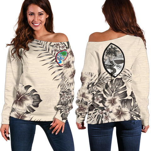 Guam 2 The Beige Hibiscus Off Shoulder Sweater A7