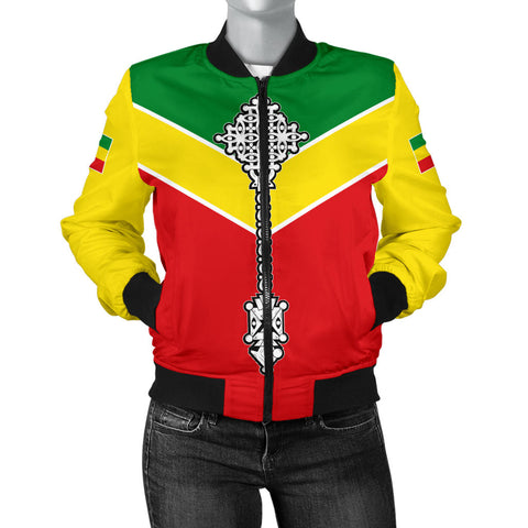 Image of Ethiopian Bomber Jacket, Ethiopia Rising Coptic Cross Lion WomenA10