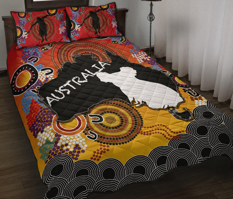 Australia Aboriginal Quilt Bed Set With Map