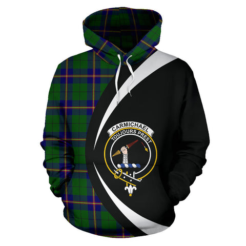 (Custom your text) Carmichael Modern Tartan Circle Hoodie